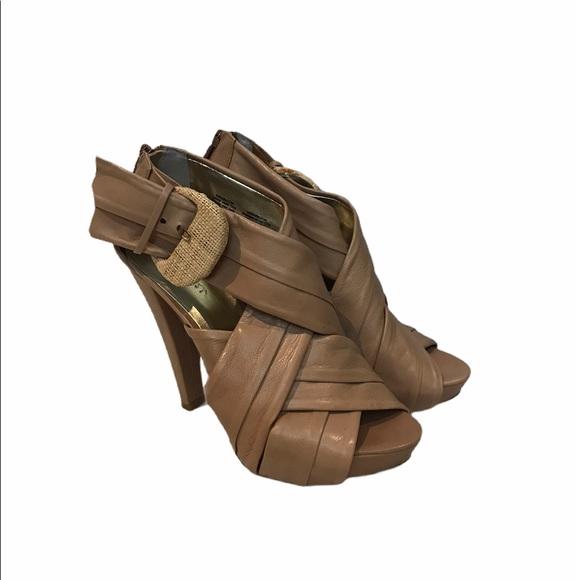 Nine West Heel Sandals Nude Size 7.5
